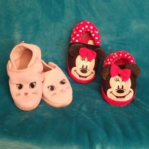Set of Used Girls Slippers size. Lg & XL